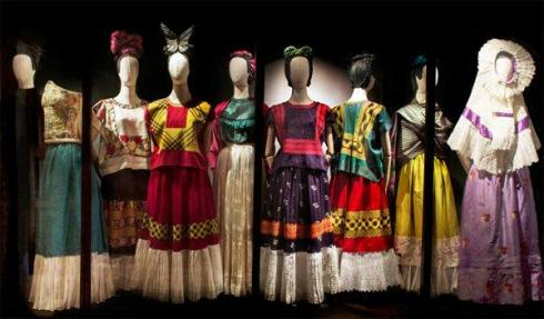 frida kahlo dresses on display