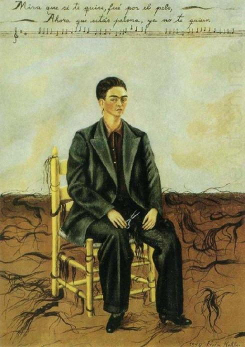 Frida Kahlo selfportrait with cut-off hair