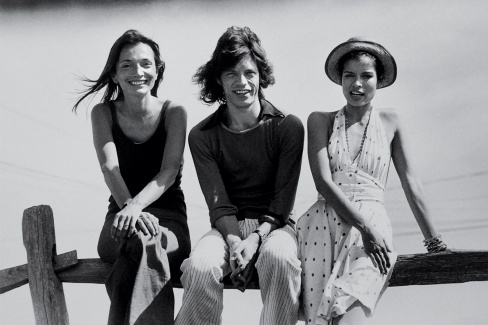 Lee, Mick and Bianca Jagger