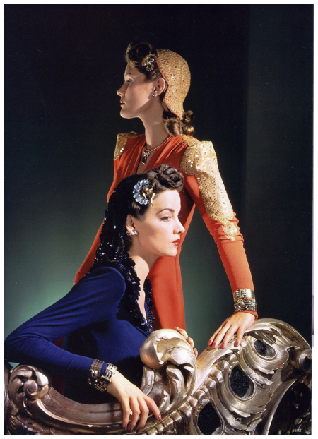 models-are-wearing-dresses-and-matching-caps-by-nettie-rosenstein-and-jewelry-by-tiffanys-photo-by-horst-vogue-nov-1-1940