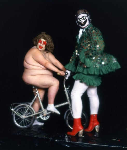 Leigh Bowery (right) and Fat Gill as Miss Fuckit, swimwear, Alternative Miss World 1985 Earth