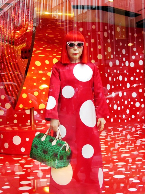 Louis Vuitton window Selfridges London Yayoi Kusama spots