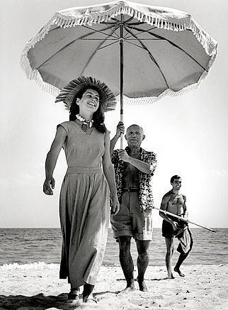 Françoise Gilot with picasso & nephew javier vilato on the beach at golfe-juan, france 1948