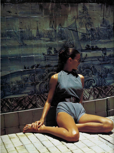 Denim Playsuit by Claire Mc Cardell, photo by Louise Dahl-Wolfe, 1946
