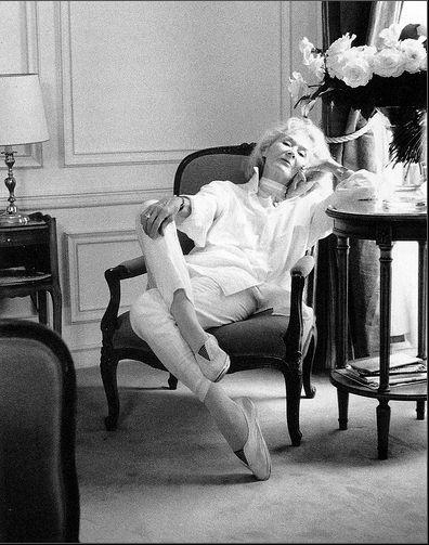 David Seidner, Lisa Fonssagrives at the Crillon, Paris, 1990