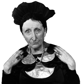Edith Sitwell wearing her 'Aztec' neckalce