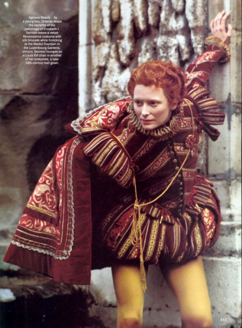 Tilda Swinton as Orlando photographed by Karl Lagerfeld for Vogue, July 1993