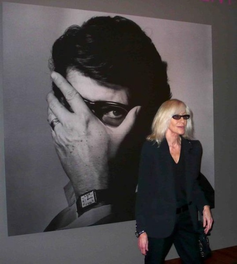 Betty in front of Yves Saint Laurent photograph