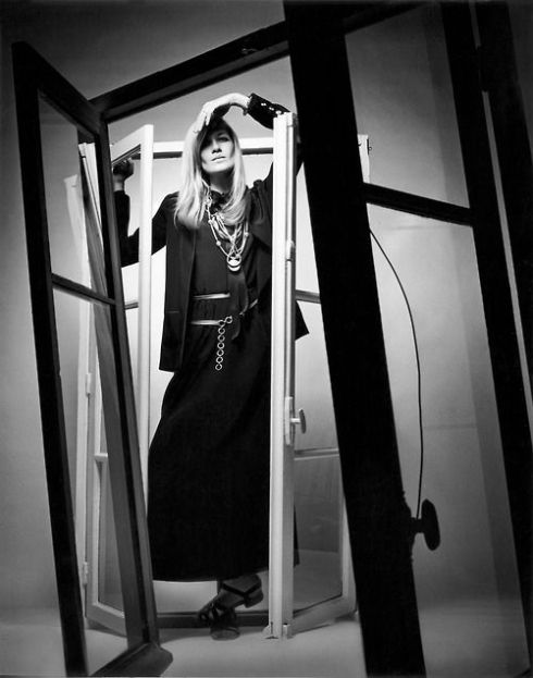 .Betty Catroux in Yves Saint Laurent Rive Gauche photographed by Jeanloup Sieff for Vogue Paris 1969