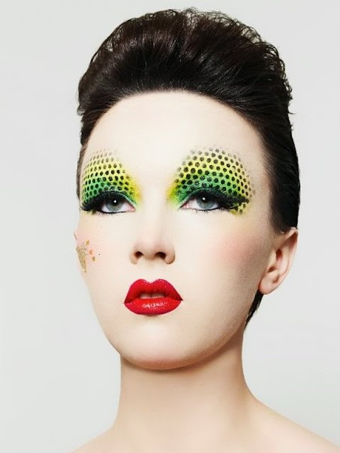 green-yellow-eye-makeup-black-polka-dots