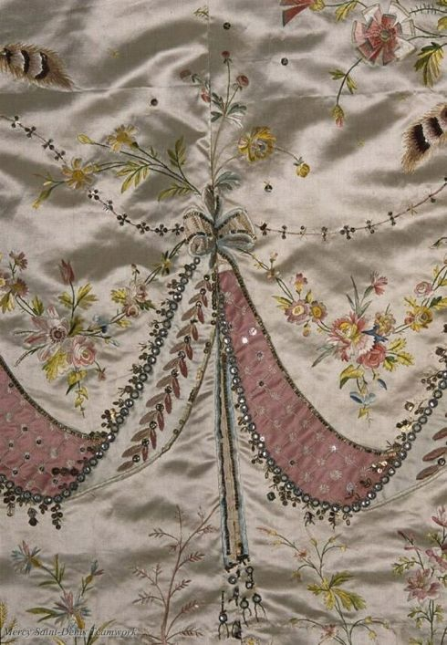 This scrap of fabric was embroidered by one of Rose Bertin's embroiderers for Marie Antoinette.