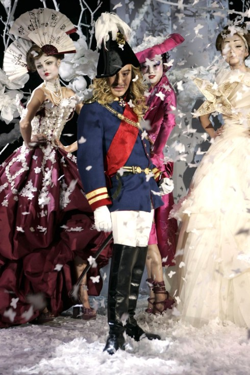 John Galliano at the catwalk after a Dior Couture show