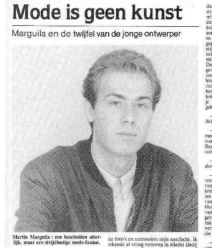 martin margiela Belgium newspaper, dated March 3, 1983.