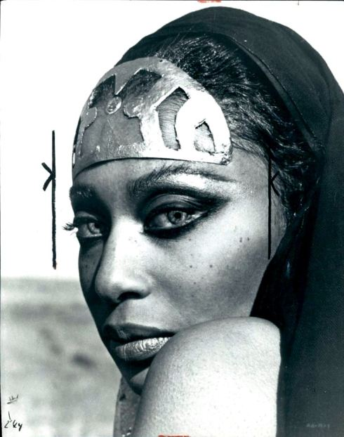 Donyale Luna on the set of Satyricon