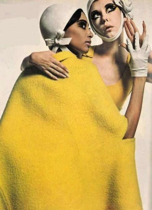 Donyale Luna, Peggy Moffit and Moyra Swann for UK Vogue 1966
