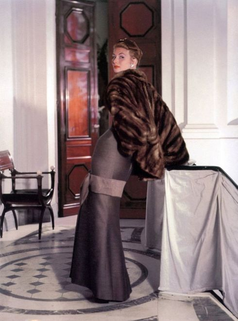 Suzy Parker in Christian Dior, Vogue, October 15, 1953.