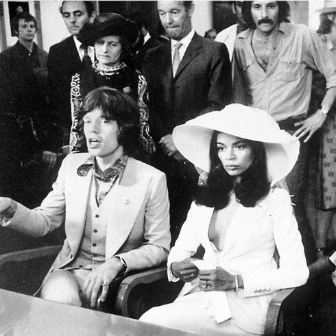 Bianca Jagger wears a YSL Le Smoking jacket to her 1971 wedding to Mick Jagger