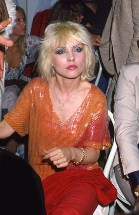Deborah Harry lead singer of Blondie wearing Stephen Sprouse circa 1979