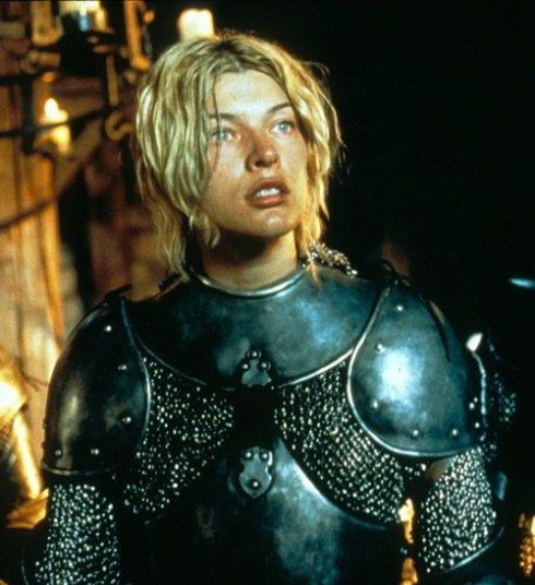 Milla Jovovich as Joan of Arc from the Luc Besson movie.