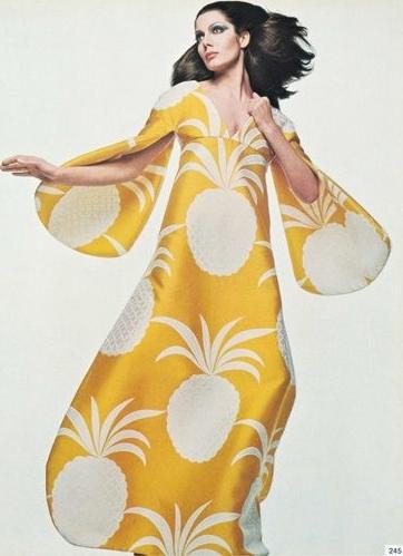 vintage pineapple print maxi Gian Paolo Barbieri 1969 Vogue Italia