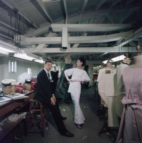 American fashion designer James Galanos with supermodel Dovima in his studio, 1960.