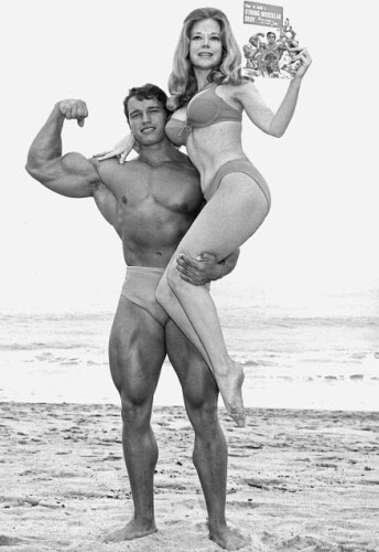 Betty Brosmer with Arnold Schwarzenegger