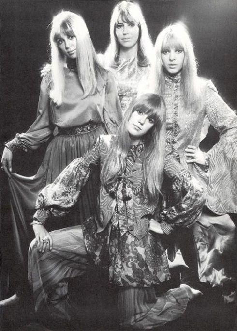 Jenny Boyd (bottom) with Beatle wives Pattie Harrison, Cynthia Lennon and Maureen Starr modelling Apple boutique designs, 1968