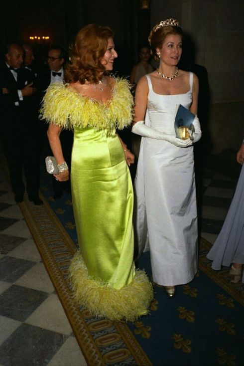 Marie-Hélène de Rothschild wearing YSL, with Grace Kelly