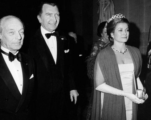 Baron Guy de Rothschild, curator of the Versailles gerald van der Kemp and Grace Kelly