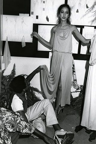 Pat Cleveland being fitted by Stephen Burrows