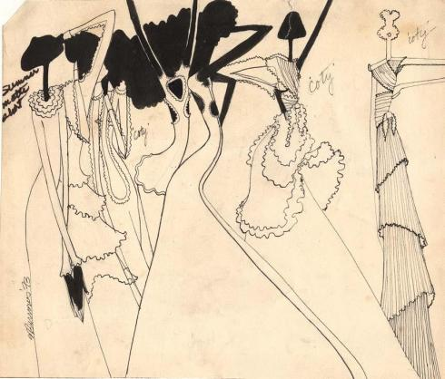 Stephen Burrows's illustration of lettuce-edge dresses for Coty fashion show, 1973.